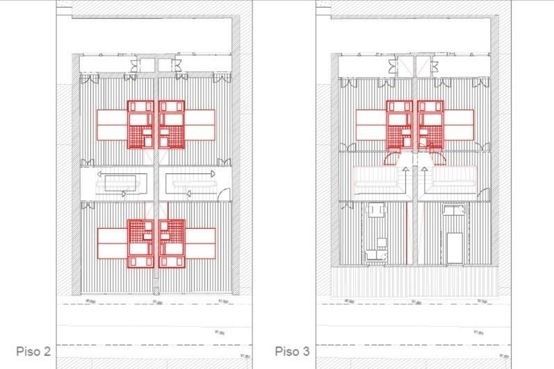 שרטוט תוכנית בנייה לקומה שניה ושלישית